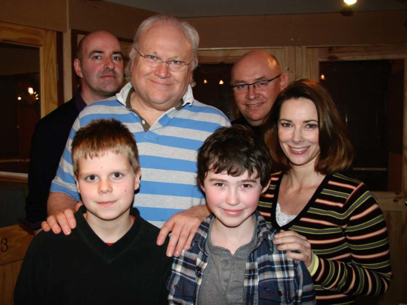 Nicholas Briggs, Colin Baker, Nicola Bryant, James George, William Townsend and Callum Witney Mills