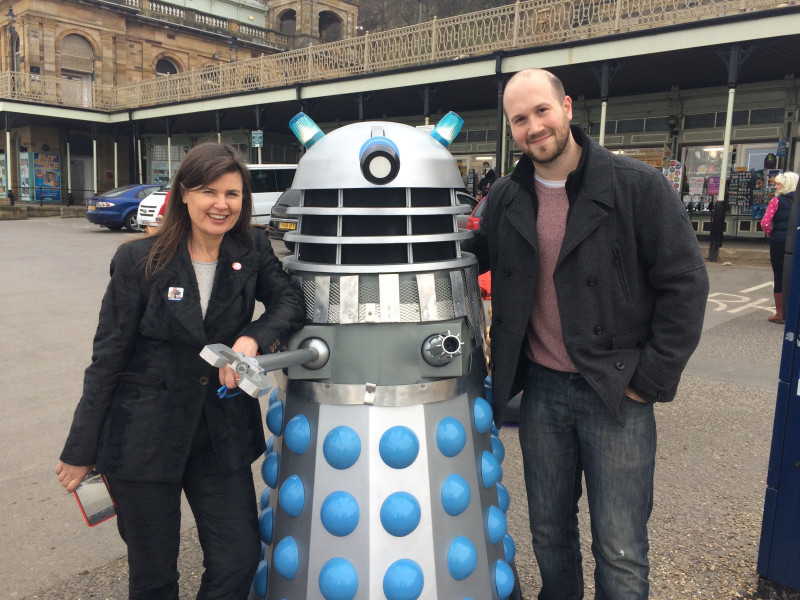 Jamie Anderson with Sophie Aldred and a Dalek - seconds after he was asked to write 'Come Die With Me'!