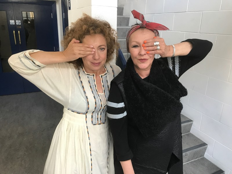 Alex Kingston and Frances Barber in studio
